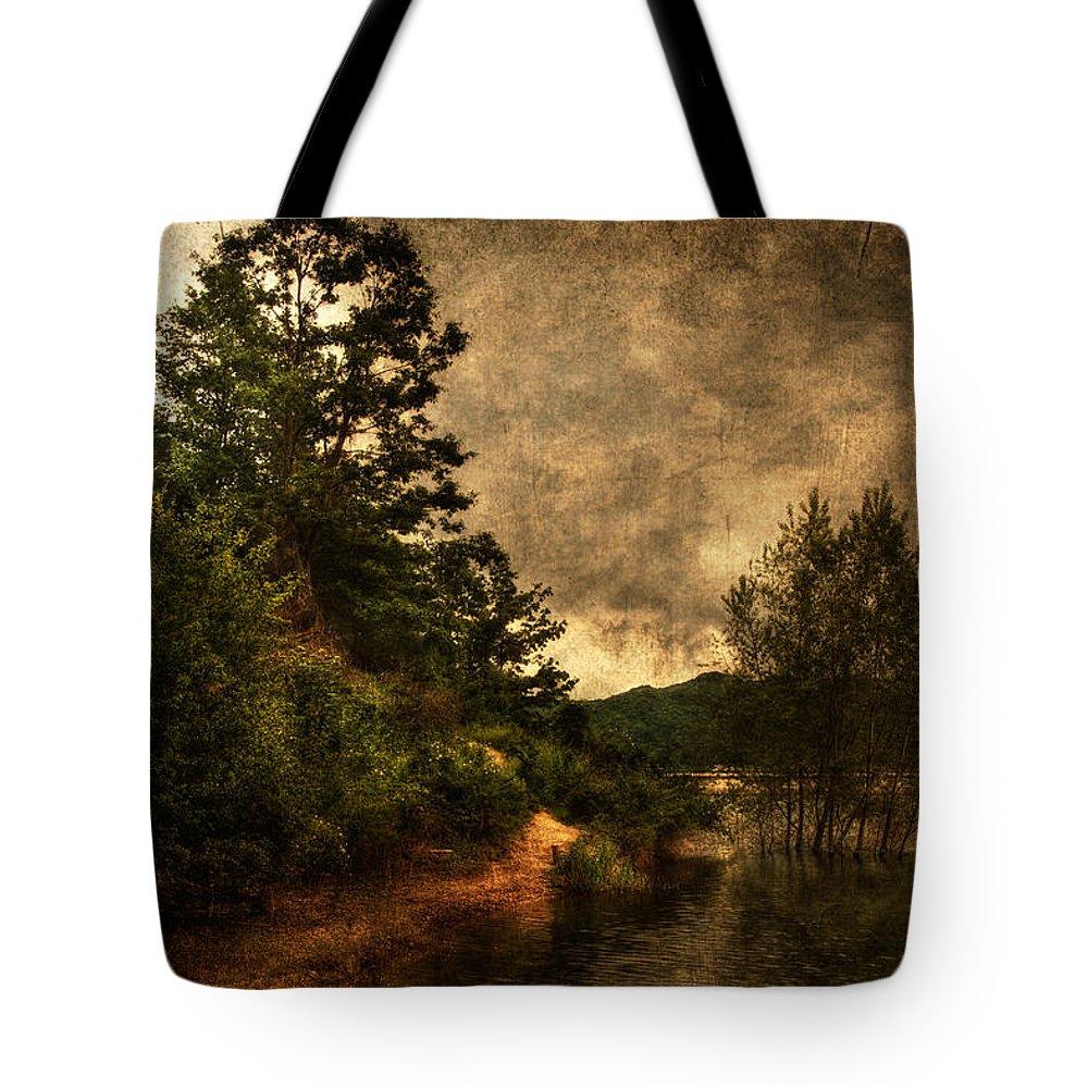 Brugneto Lake Tote Bag featuring the photograph Textured Lake by Roberto Pagani