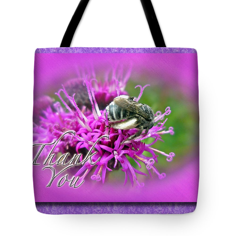 Thank You Tote Bag featuring the photograph Thank You Greeting Card - Bumblebee On Ironweed by Mother Nature