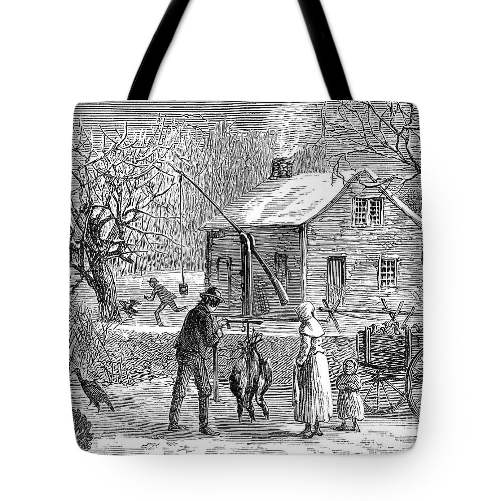 1882 Tote Bag featuring the photograph Thanksgiving, 1882 by Granger