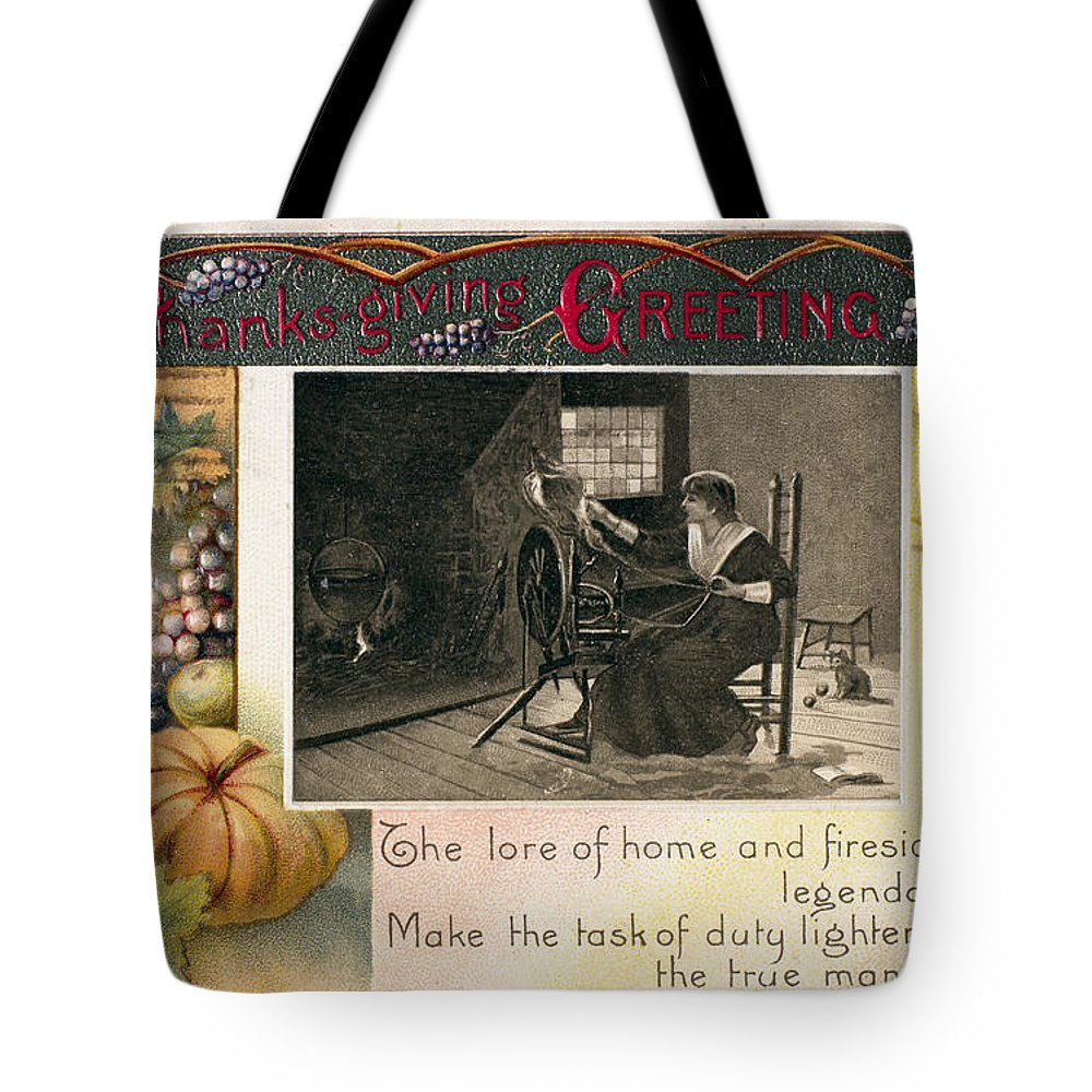 1909 Tote Bag featuring the photograph Thanksgiving Card, 1909 by Granger