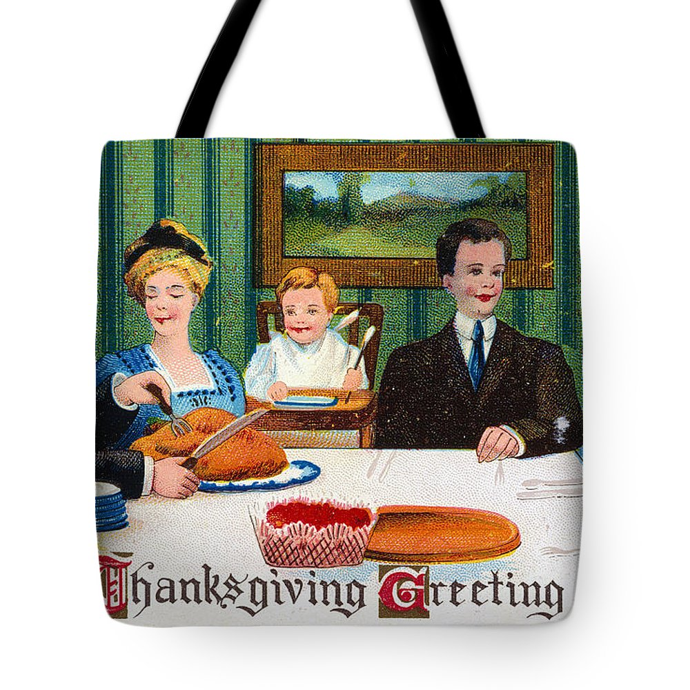 1910 Tote Bag featuring the photograph Thanksgiving Card, 1910 by Granger