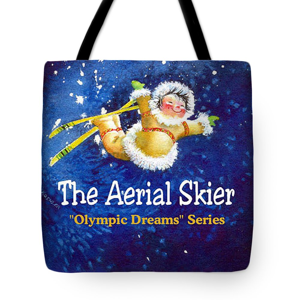 Kids Book Tote Bag featuring the painting The Aerial Skier - Book Cover by Hanne Lore Koehler