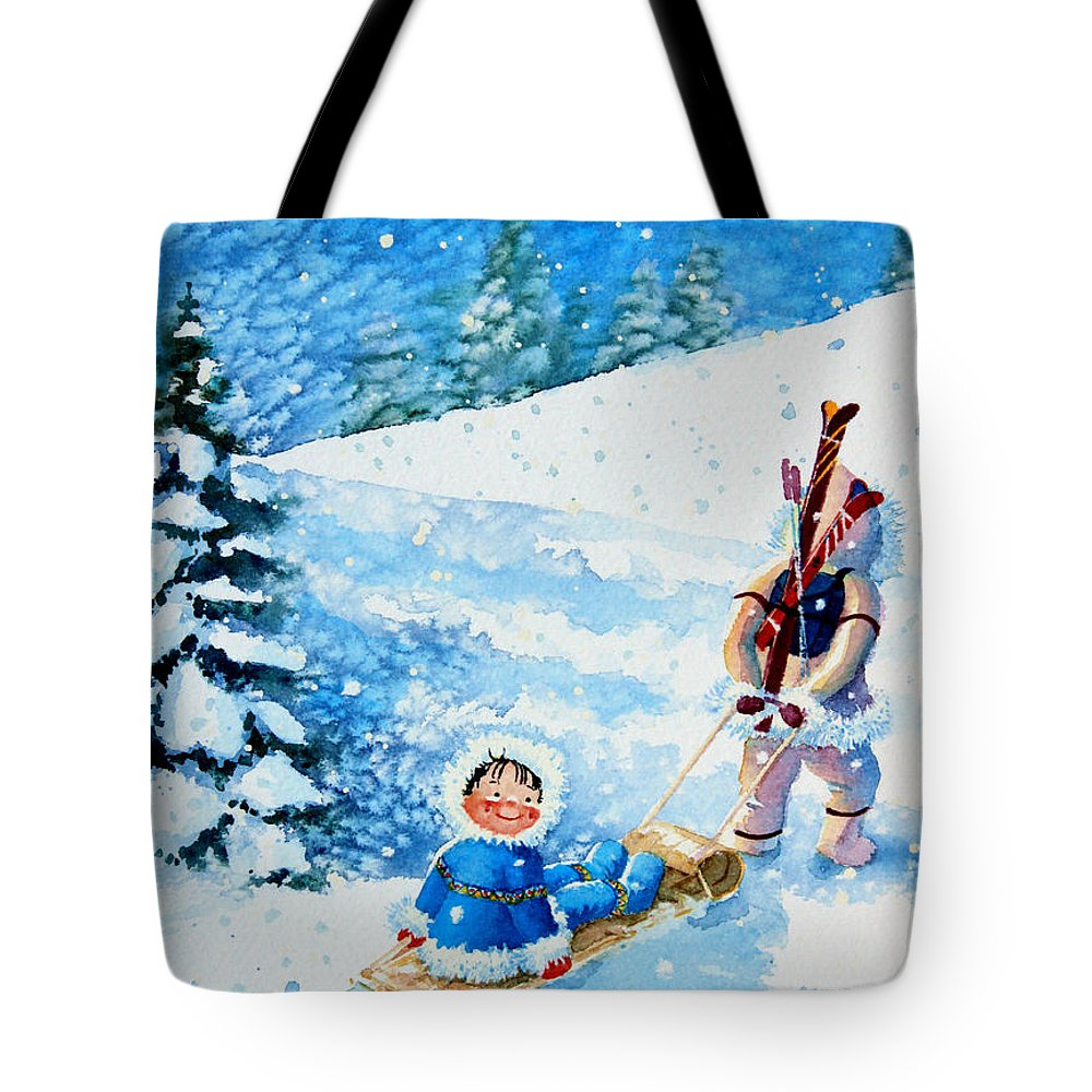 Kids Art For Ski Chalet Paintings Tote Bag featuring the painting The Aerial Skier - 1 by Hanne Lore Koehler