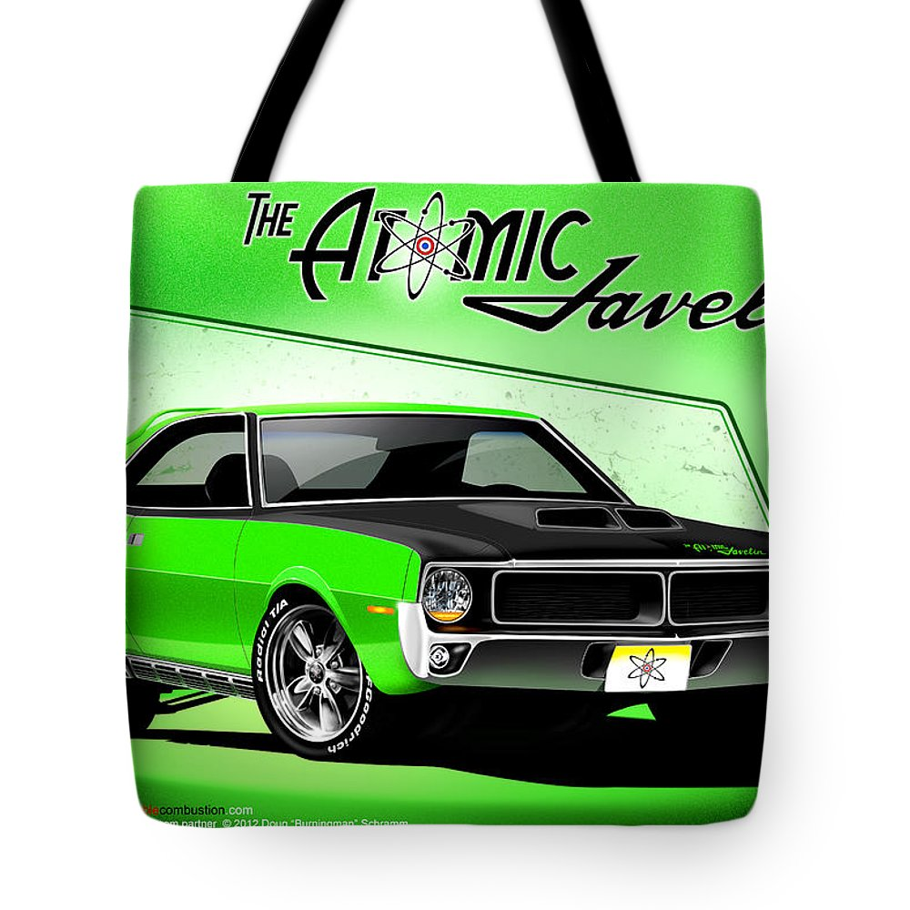 Cars Tote Bag featuring the digital art The Atomic Javelin by Doug Schramm