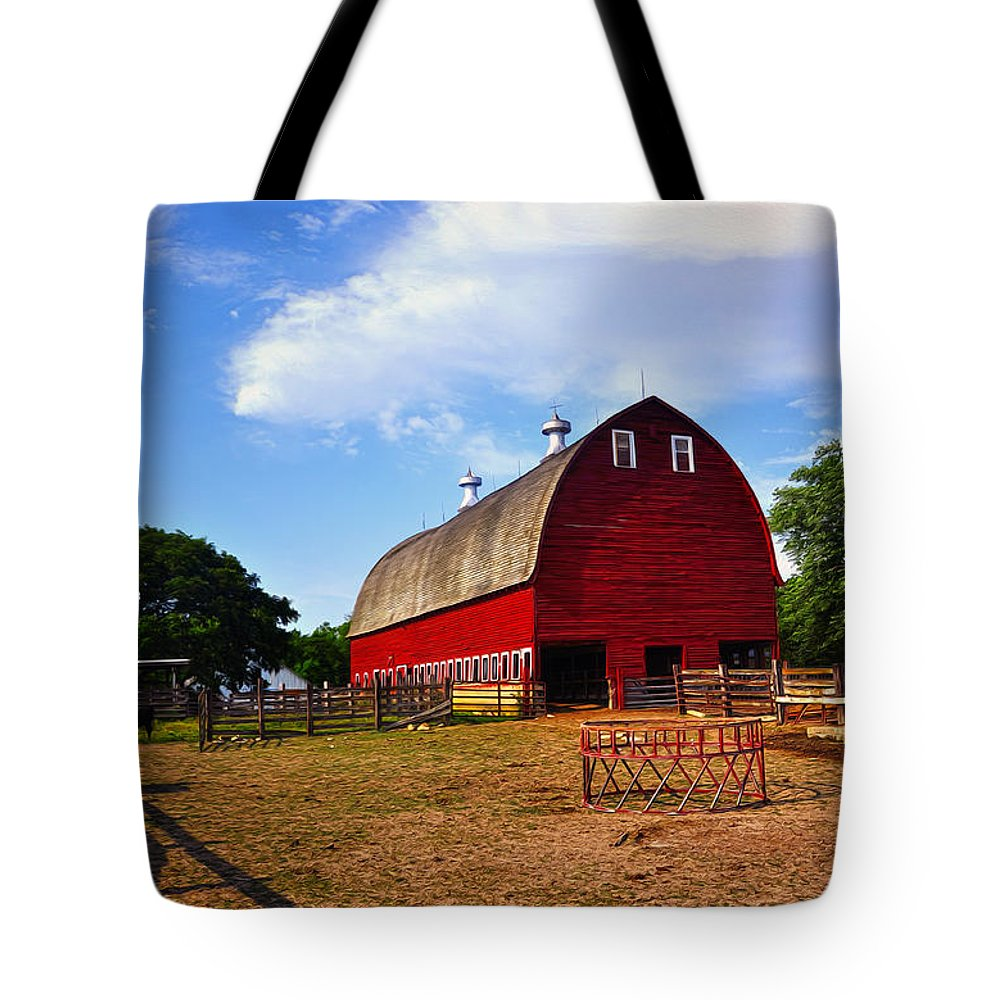 Barn Tote Bag featuring the painting The Barn by Tom Bell