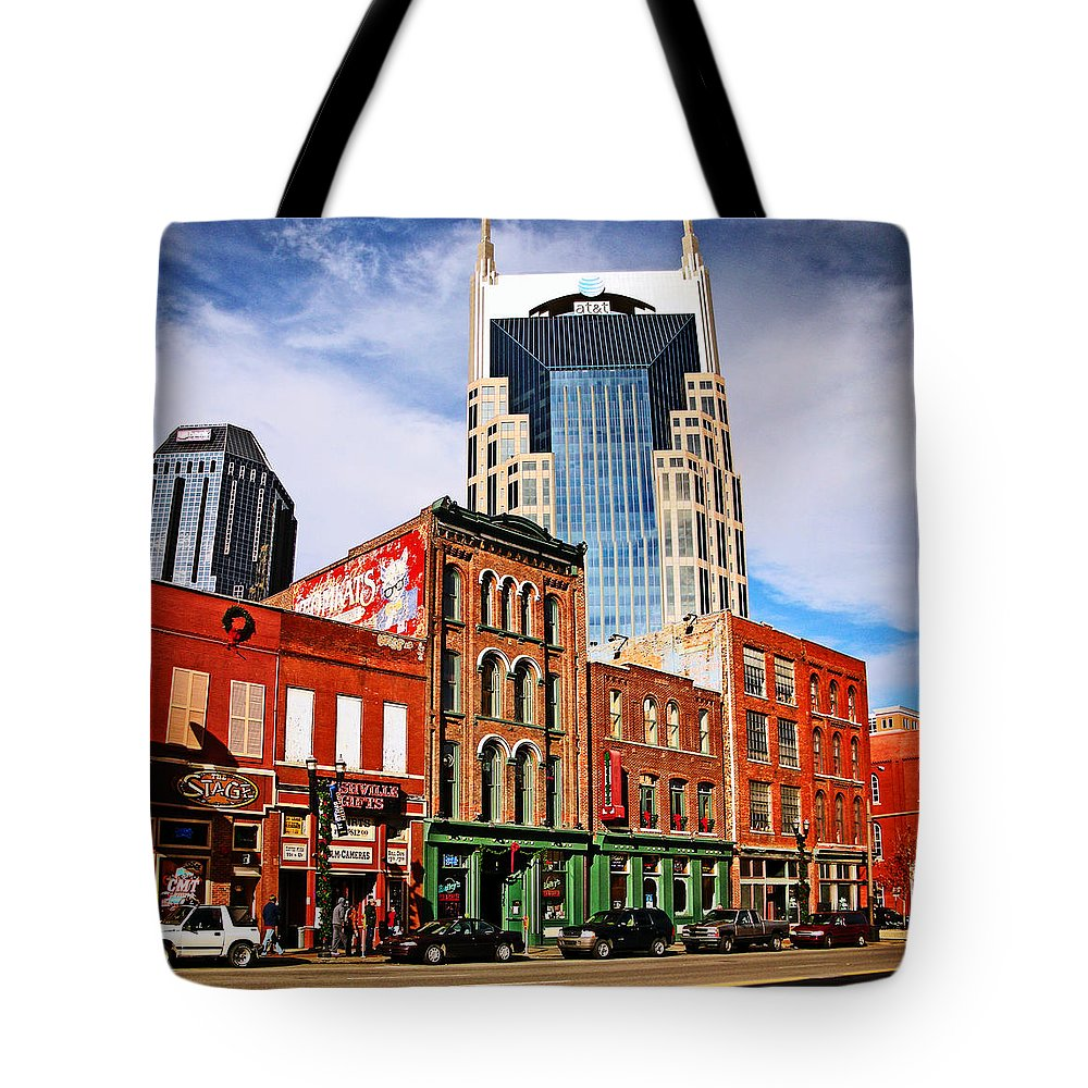 At&t Tote Bag featuring the photograph The Bat Building by Paul Mashburn