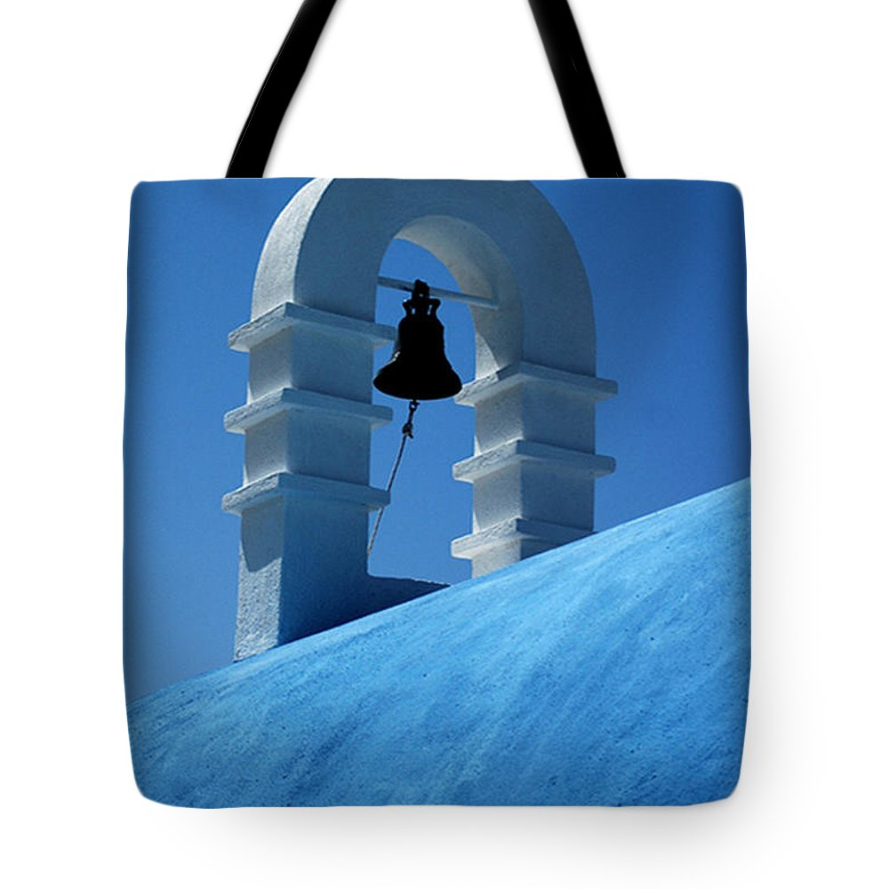 Mykonos Tote Bag featuring the photograph The Bell Tower In Mykonos by Vivian Christopher