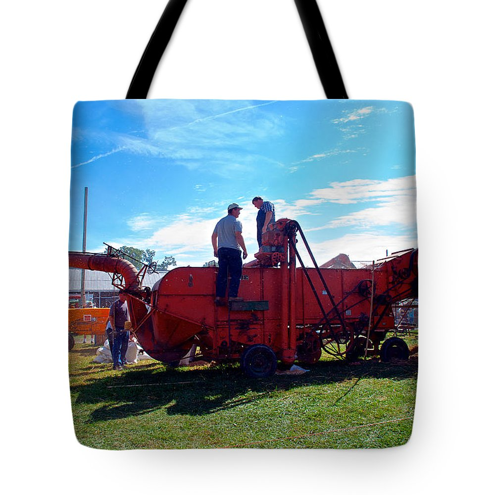 Arcadia Volunteer Fire Company Tote Bag featuring the photograph The Big Thrasher by Mark Dodd