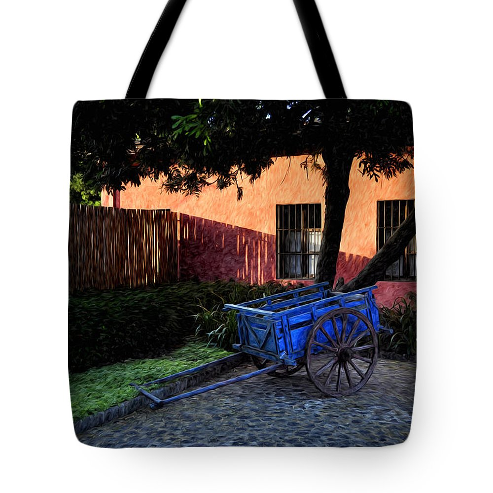 Cart Tote Bag featuring the painting The Blue Cart by Tom Bell