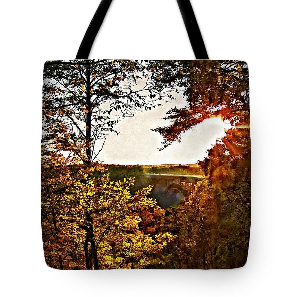 Bridge Tote Bag featuring the photograph The Bridge by Steve Harrington
