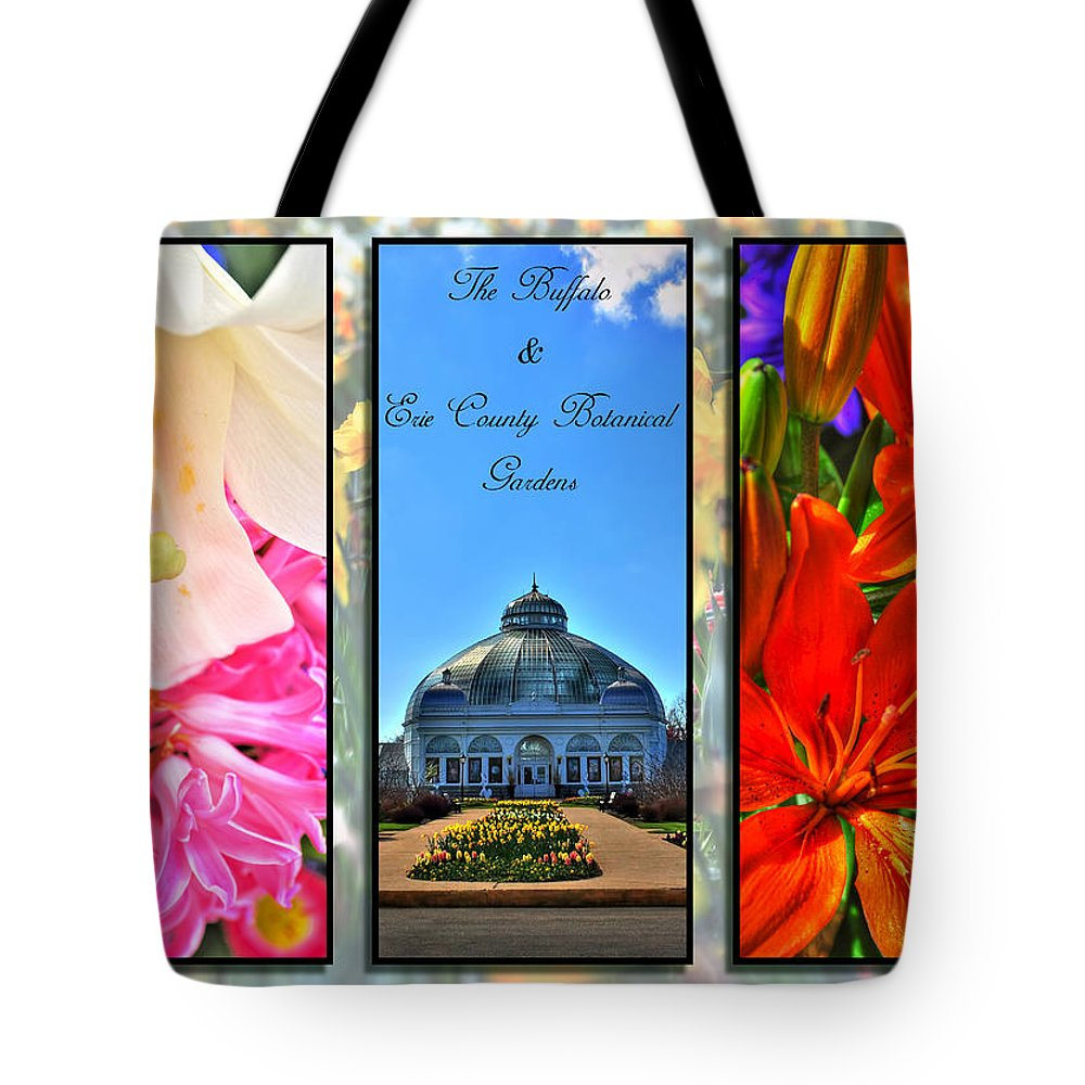 Tote Bag featuring the photograph The Buffalo And Erie County Botanical Gardens Triptych Series With Text by Michael Frank Jr