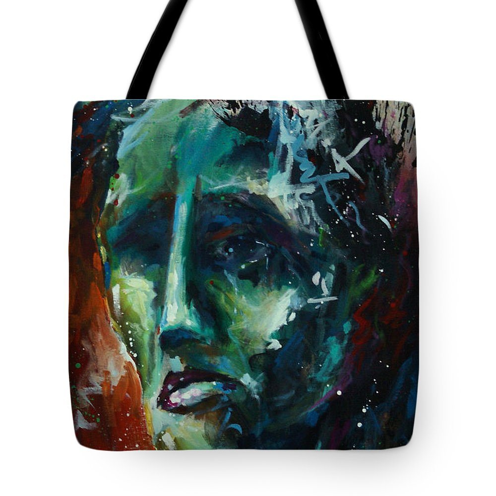 Portrait Tote Bag featuring the painting 'the Burden' by Michael Lang
