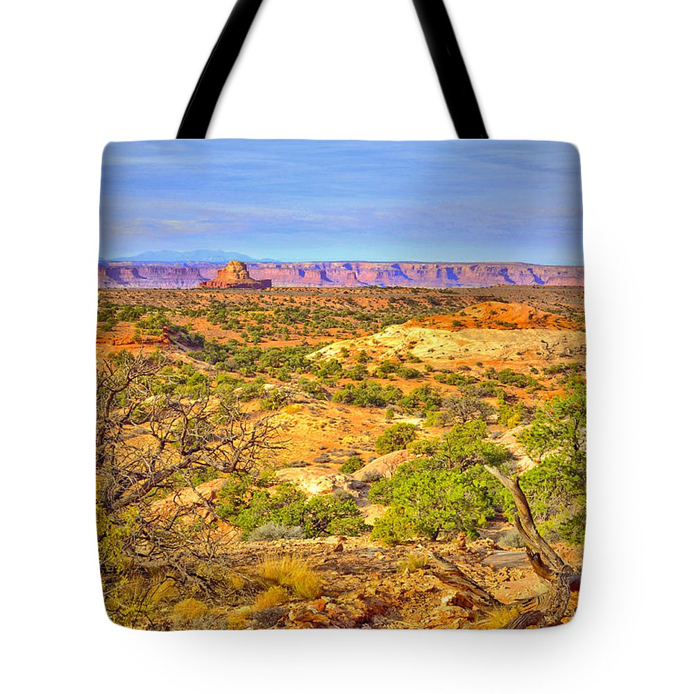 Canyonlands National Park Tote Bag featuring the photograph The Canyon In The Distance by Tara Turner