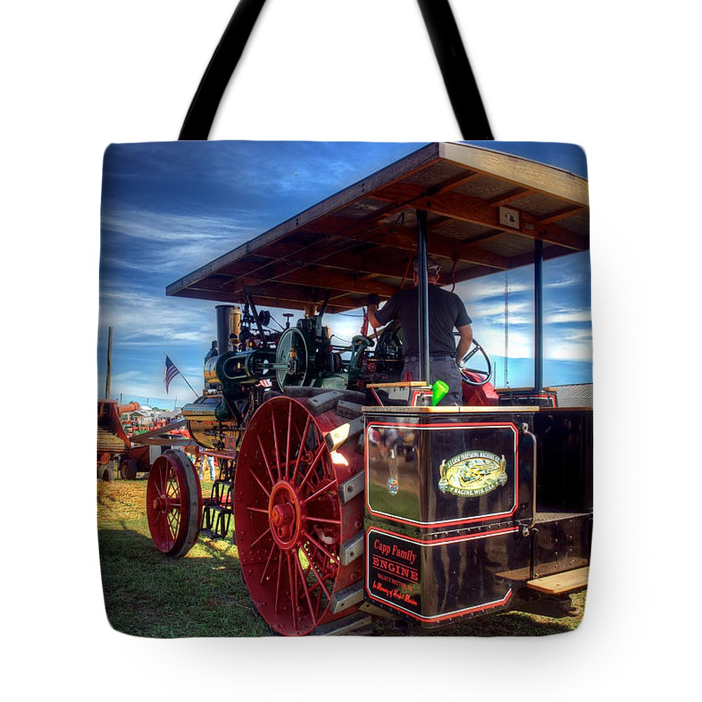 Arcadia Volunteer Fire Company Tote Bag featuring the photograph The Capp Family Case Engine 2 by Mark Dodd