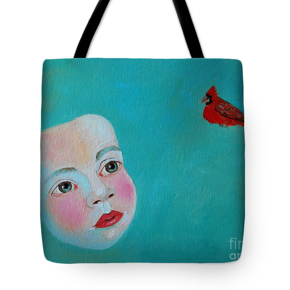 Cardinal Tote Bag featuring the painting The Cardinal's Song by Ana Maria Edulescu