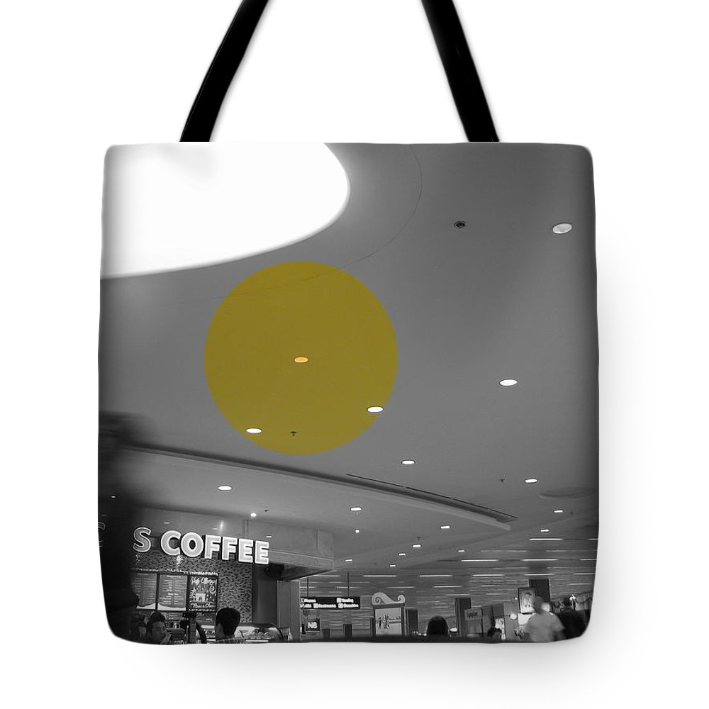 Urban Tote Bag featuring the photograph The Circle Yellow - Traveling In Need Of A Cup by Kathleen Grace