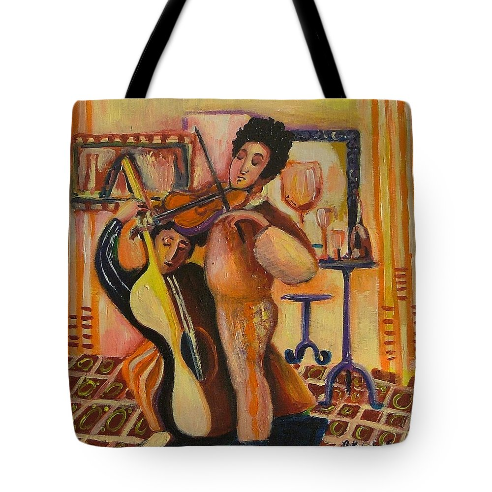 Tote Bag featuring the painting Concert by Rita Fetisov