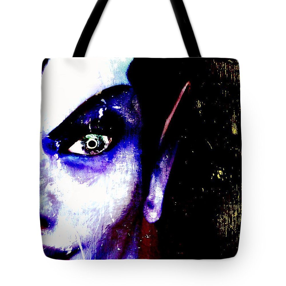 Self Portrait Tote Bag featuring the digital art The Creature Within by Russell Clenney