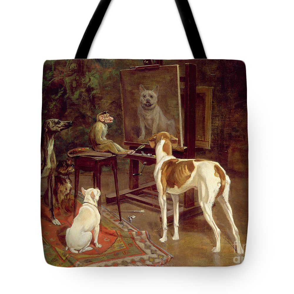 The Critics Tote Bag featuring the painting The Critics by A Vimar