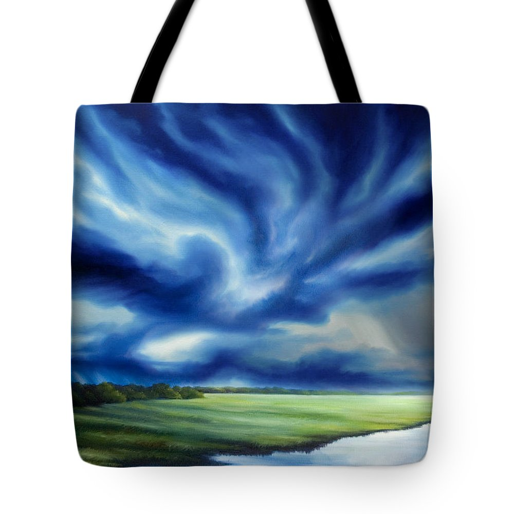 Nature; Lake; Sunset; Sunrise; Serene; Forest; Trees; Water; Ripples; Clearing; Lagoon; James Christopher Hill; Jameshillgallery.com; Foliage; Sky; Realism; Oils; Moon; Moonlight; Reflection; Blue; Lapis; Storm; Dragon; Tote Bag featuring the painting The Dragon Storm by James Christopher Hill