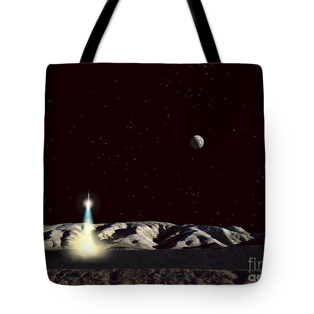 Spaceship Tote Bag featuring the digital art The Earth Hangs In The Low Lunar Sky by Frank Hettick