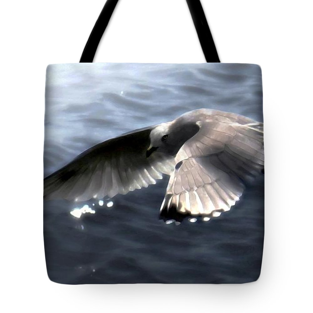 Seabirds Tote Bag featuring the digital art The Edge Of The Fog by Dale  Ford
