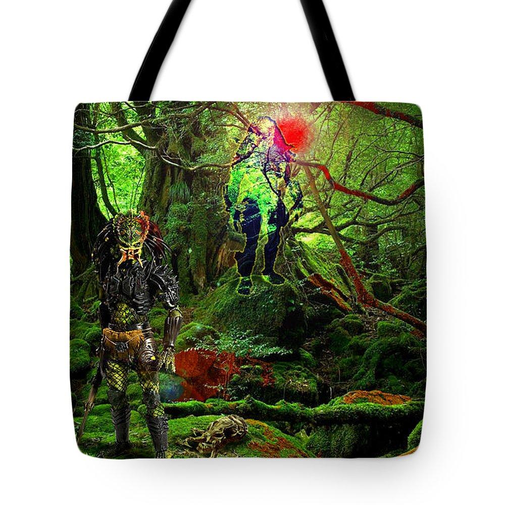 Alien Species Tote Bag featuring the digital art The Elders by Casey P