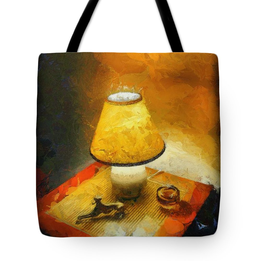 Tablelamp Tote Bag featuring the painting The Evening Lamp by Balram Panikkaserry