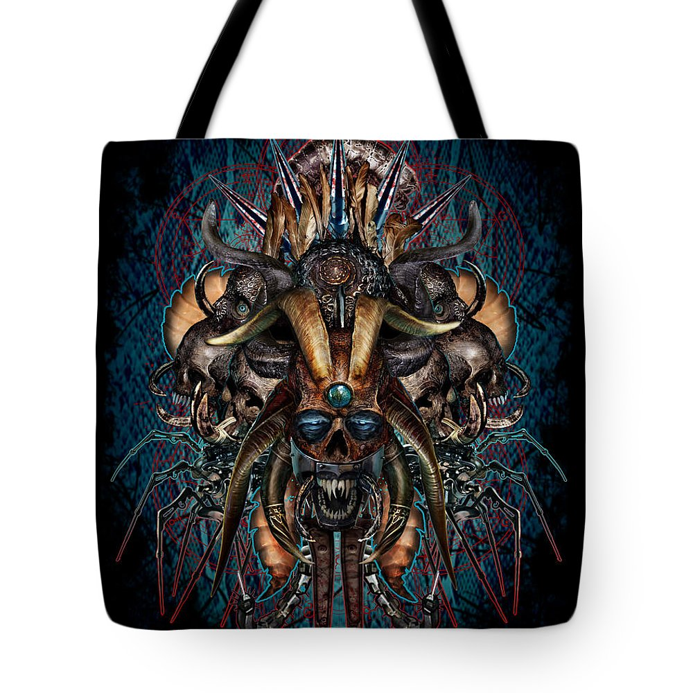 Tony Koehl: Death Metal: Sketch The Soul Tote Bag featuring the mixed media The Evils Rule This World by Tony Koehl
