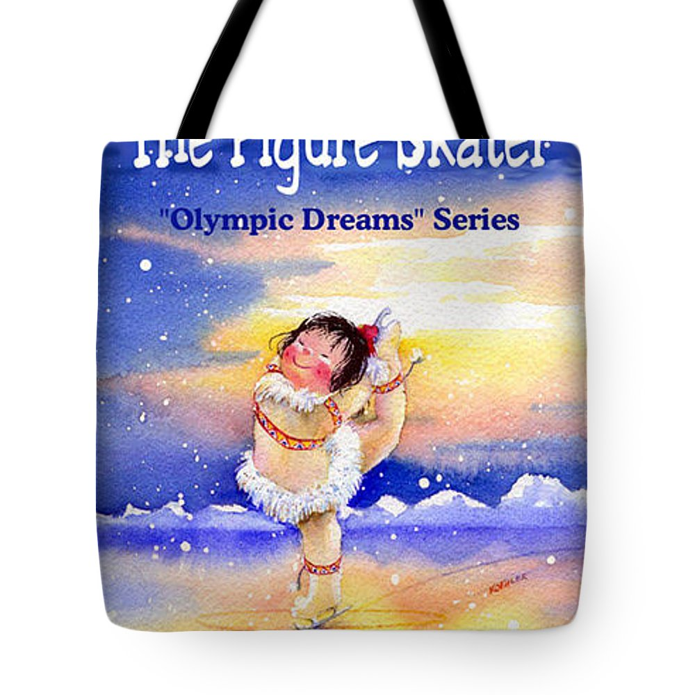 Kids Book Tote Bag featuring the painting The Figure Skater - Cover by Hanne Lore Koehler