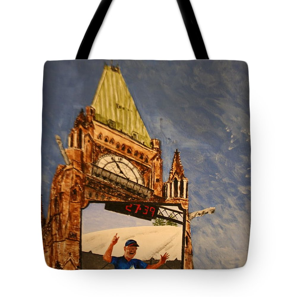 Peace Tower Tote Bag featuring the painting The Finish Line by Betty-Anne McDonald