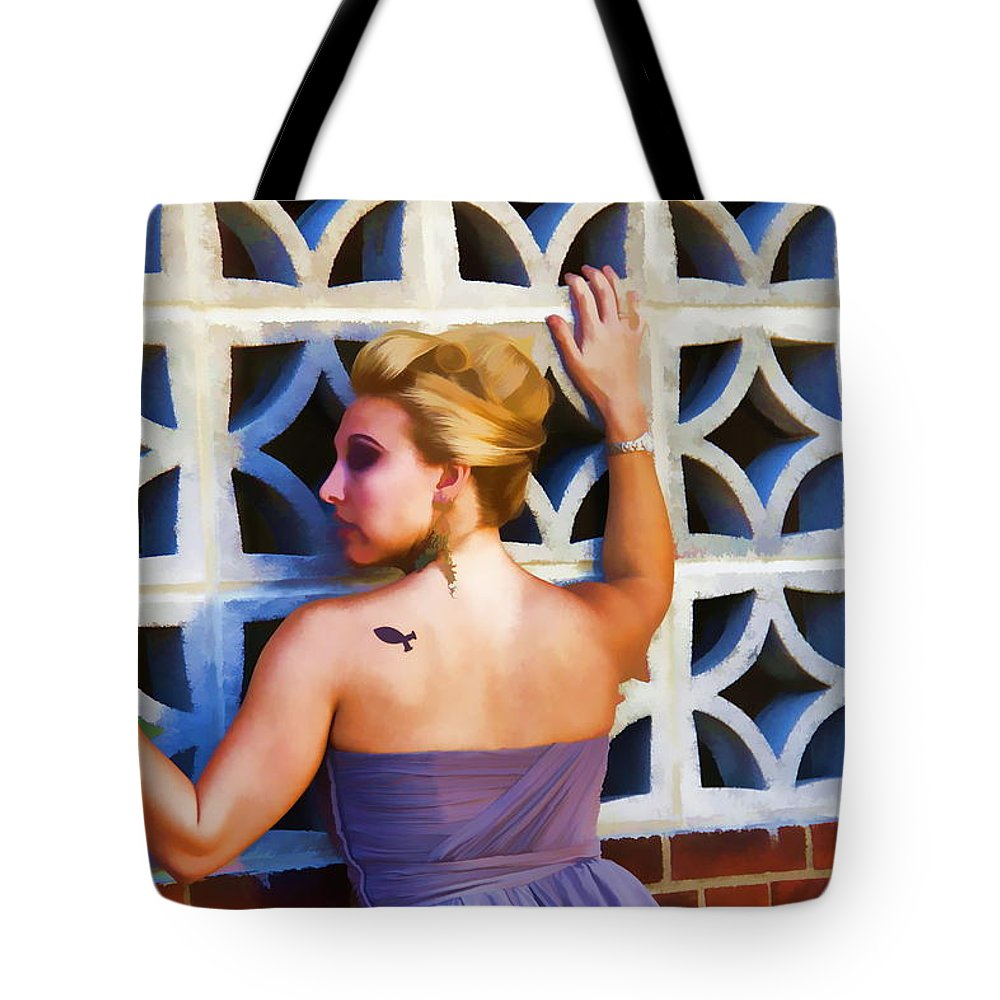 Tattoo Christian Blonde Woman Lady Portrait Tote Bag featuring the photograph The Fish by Alice Gipson