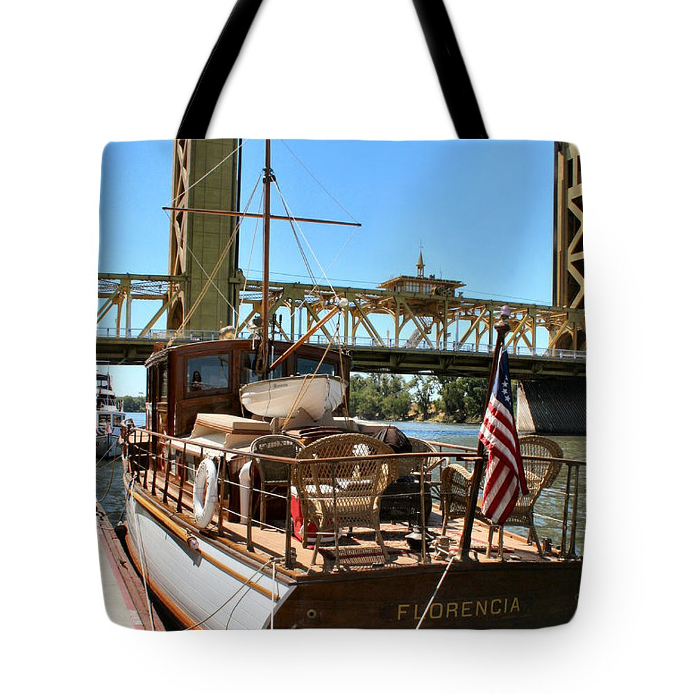 Sacramento River Tote Bag featuring the photograph The Florencia And Tower Bridge In Color by Sally Bauer