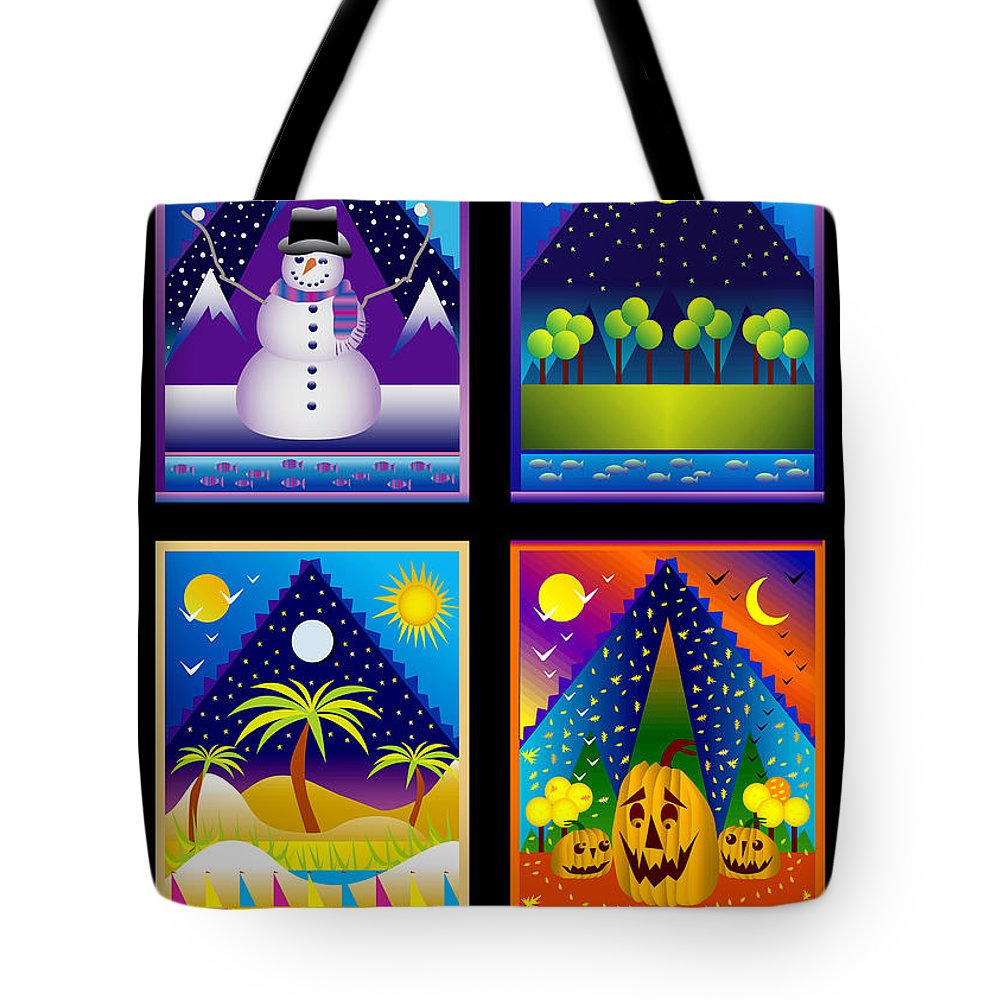 Card Tote Bag featuring the digital art The Four Seasons by Nancy Griswold