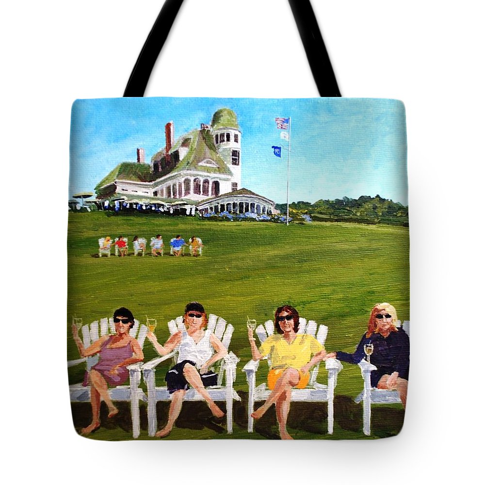 Castle Tote Bag featuring the painting The Girls At Castle Hill by Keith Wilkie