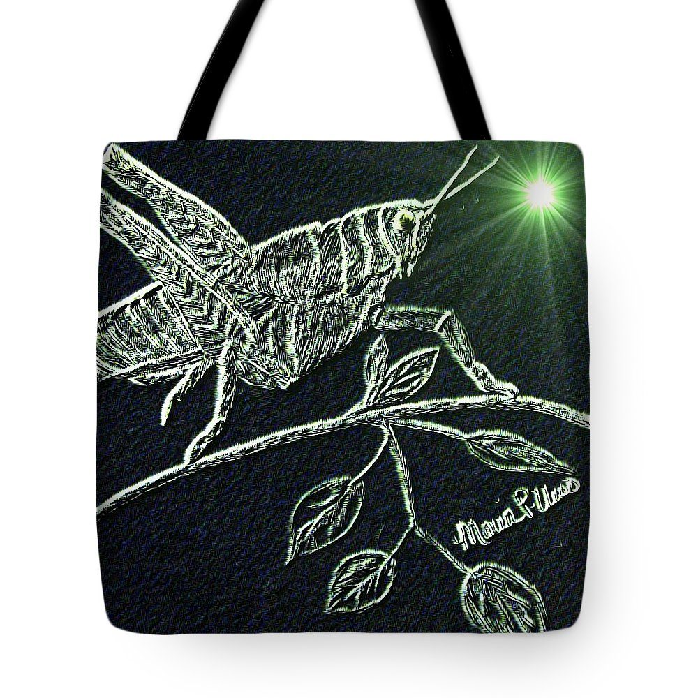 Grasshopper Tote Bag featuring the digital art The Grasshopper by Maria Urso