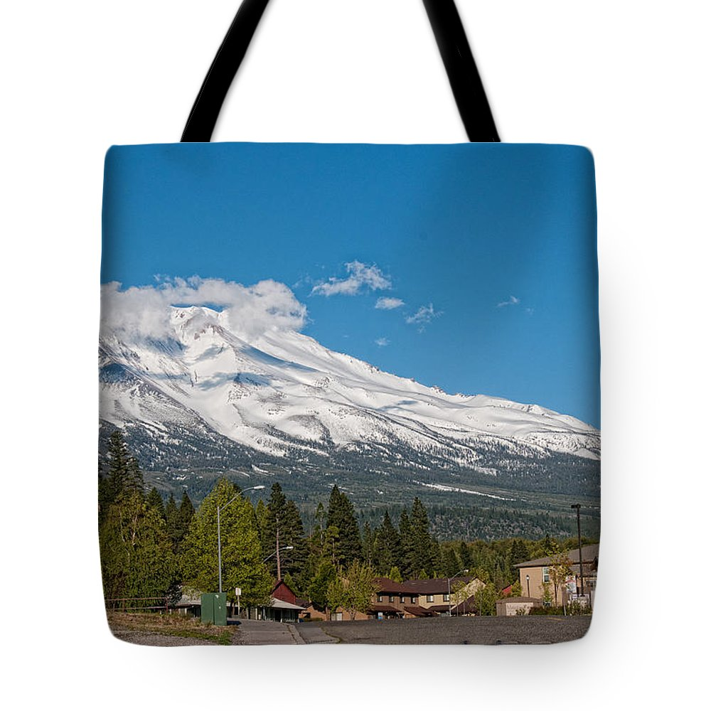 California Tote Bag featuring the digital art The Heart Of Mount Shasta by Carol Ailles