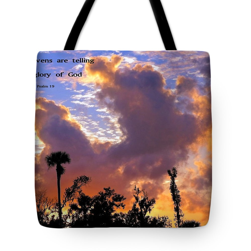 Clouds Tote Bag featuring the photograph The Heavens Tell by Sally Weigand