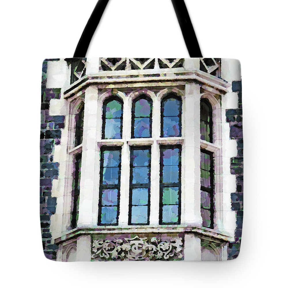 Heritage Tote Bag featuring the photograph The Heritage Windows Of The Teachers' College by Steve Taylor