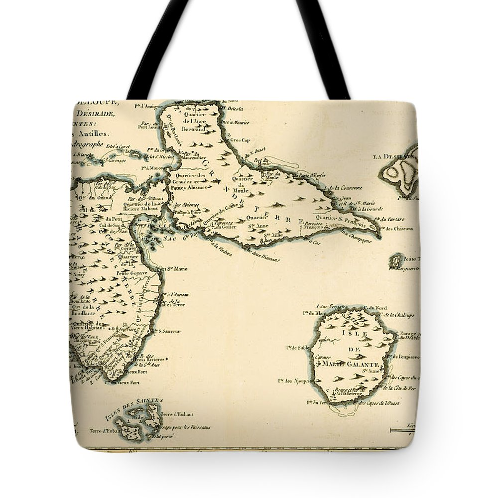 Maps Tote Bag featuring the drawing The Islands Of Guadeloupe by Guillaume Raynal