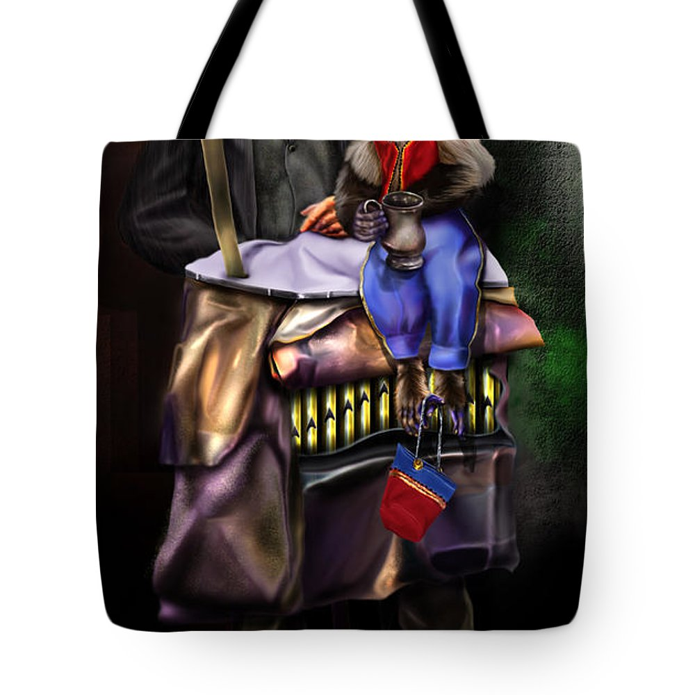 Monkey Tote Bag featuring the painting The Job Creator by Reggie Duffie