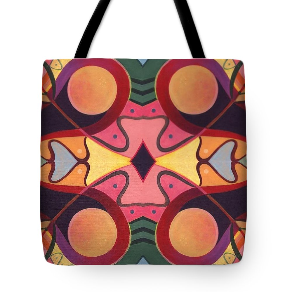 Circles Tote Bag featuring the digital art The Joy Of Design I Arrangement 2 by Helena Tiainen