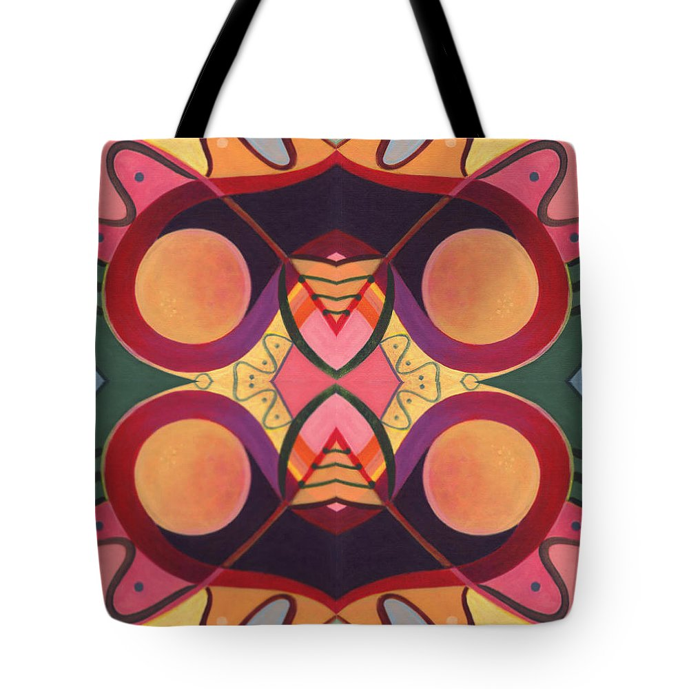 Circles Tote Bag featuring the digital art The Joy Of Design I Arrangement 3 by Helena Tiainen