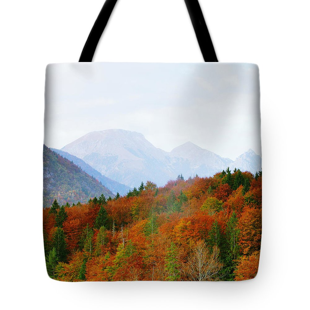 Alps Tote Bag featuring the photograph The Julian Alps In Autumn At Lake Bohinj by Greg Matchick