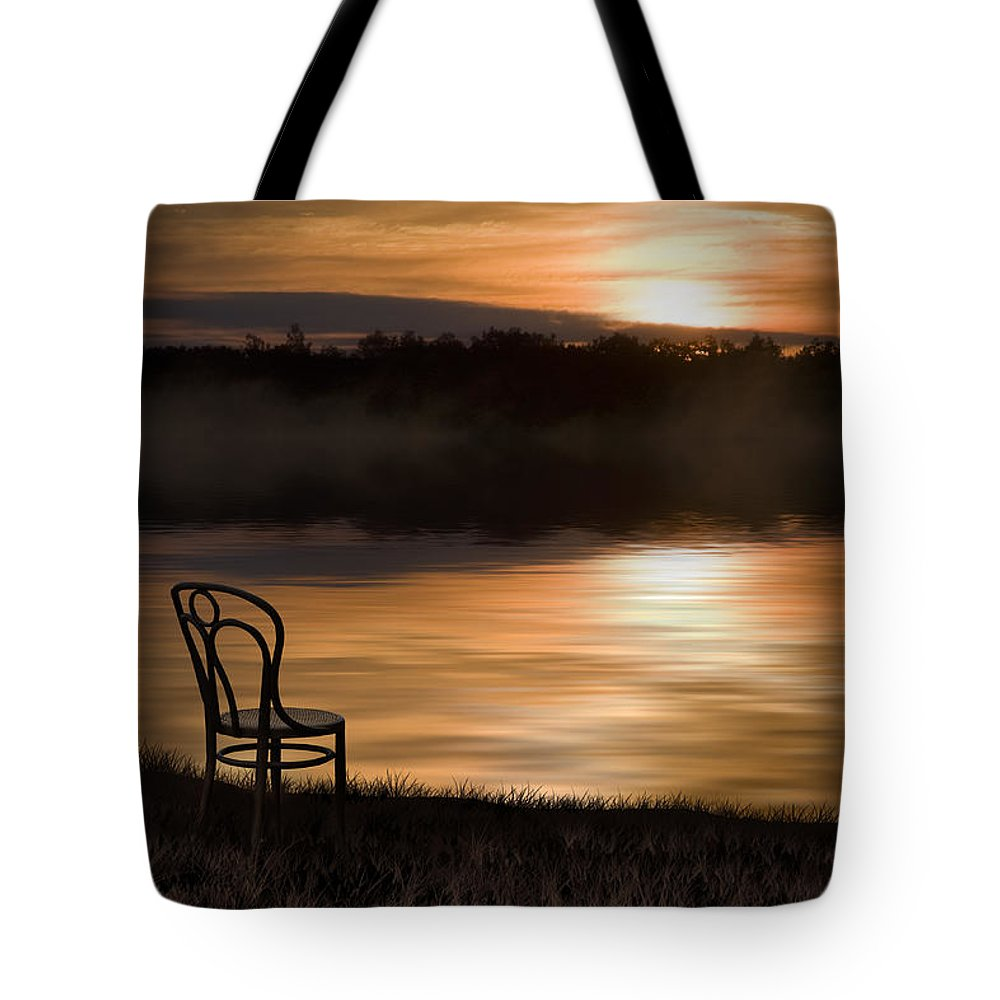 Chair Tote Bag featuring the photograph The Last Light by Ron Jones