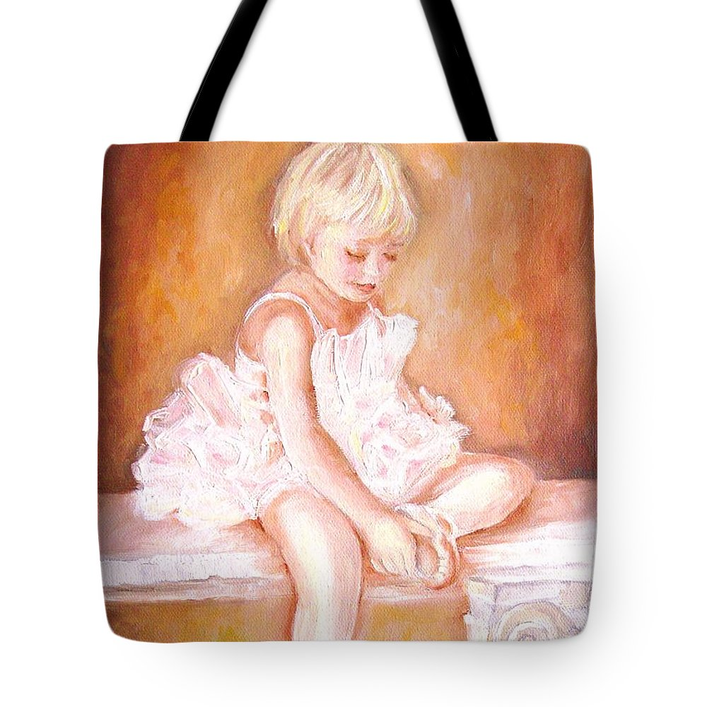 Ballerinas Tote Bag featuring the painting The Little Ballerina by Carole Spandau
