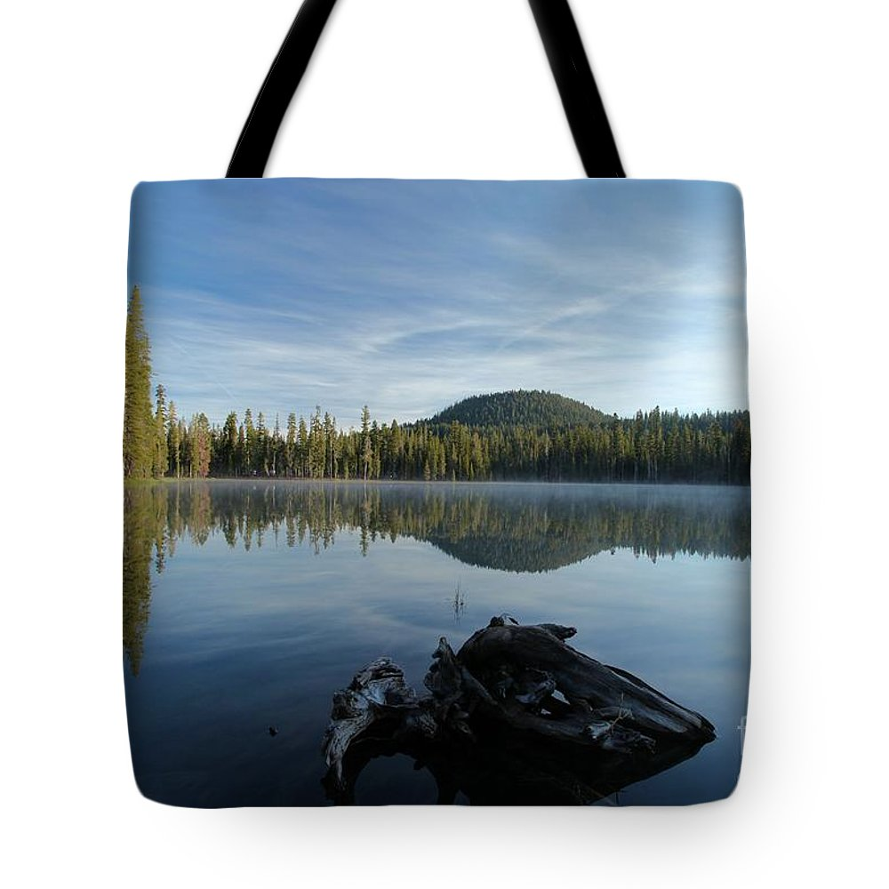 Summit Lake Tote Bag featuring the photograph The Lone Log by Adam Jewell