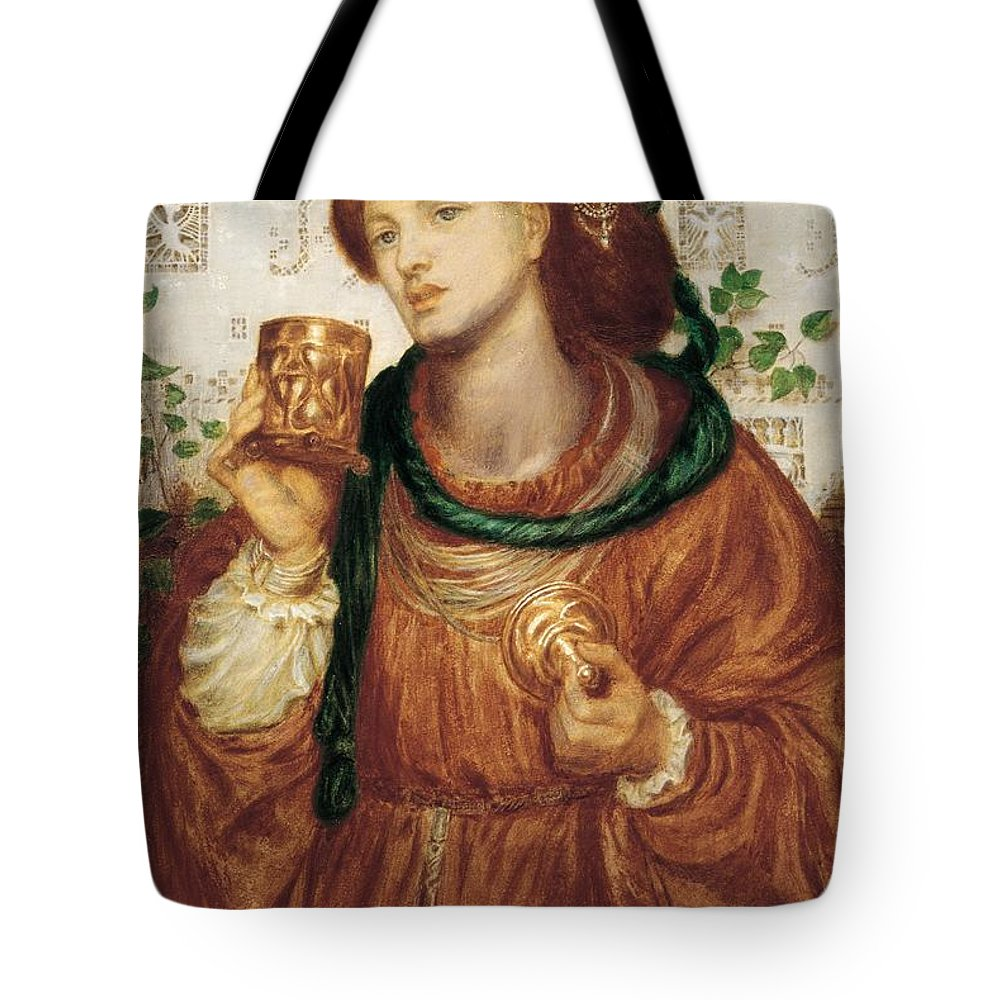 Female Tote Bag featuring the painting The Loving Cup by Dante Charles Gabriel Rossetti