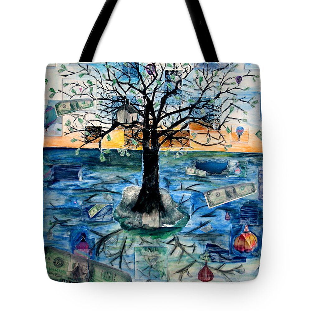 Hot Air Balloons Tote Bag featuring the painting The Money Tree by Kate Fortin
