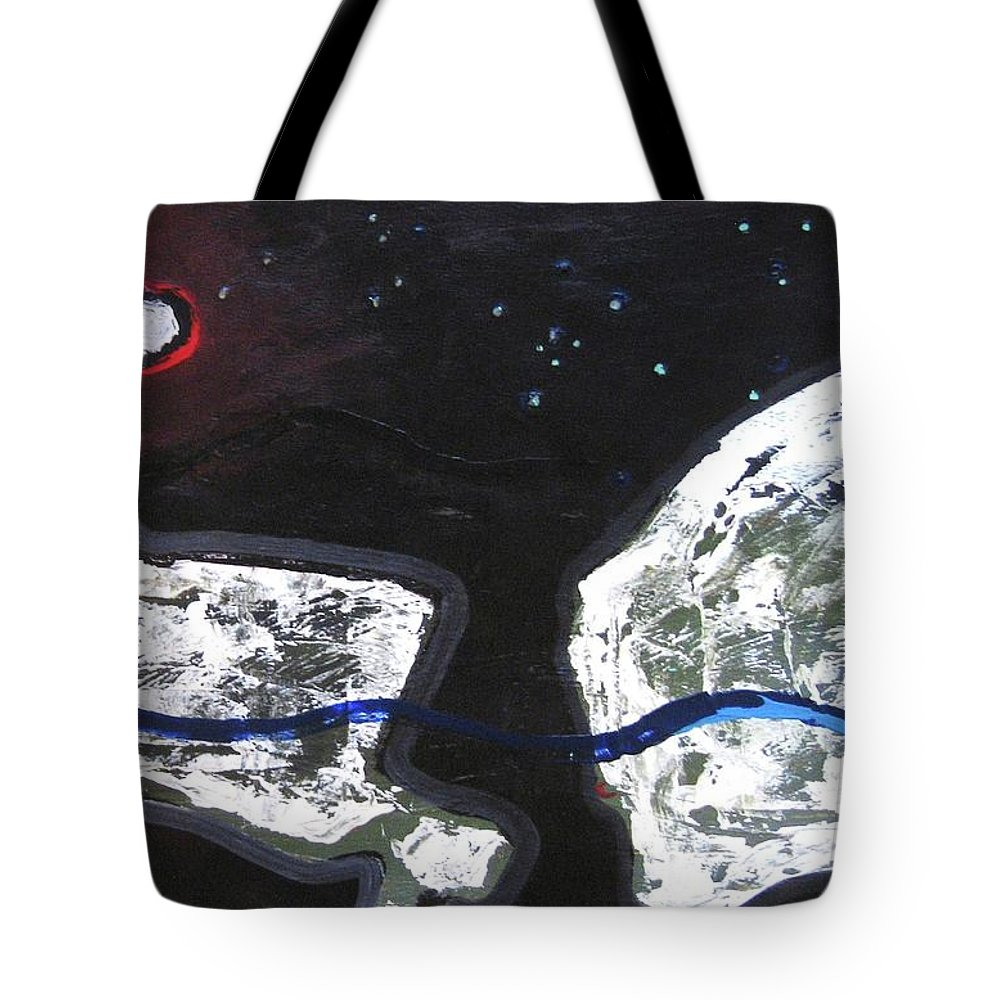 Rock Painting Tote Bag featuring the painting The Moon And Two Rocks by Seon-Jeong Kim